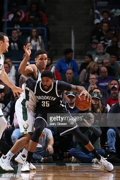 Trevor Booker of the Brooklyn Nets handles the ball during a game against the Milwaukee Bucks on October 29 2016 at BMO Harris Bradley Center in...