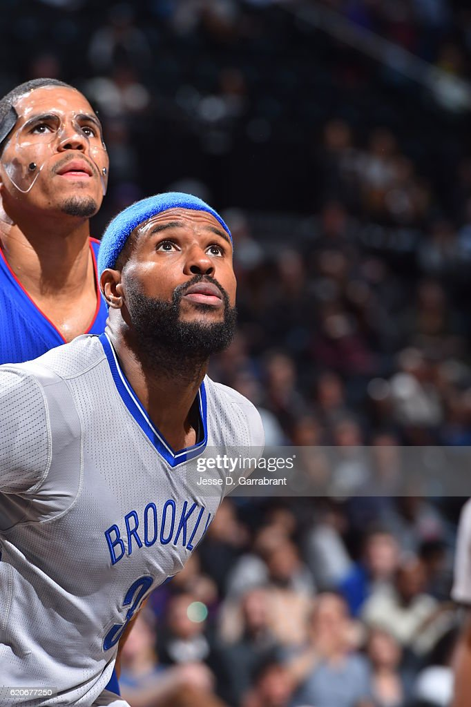Trevor Booker #35 of the Brooklyn Nets positions himself for the rebound against the Detroit Pistons on November 2,2016 at Barclays Center in Brooklyn, New York.