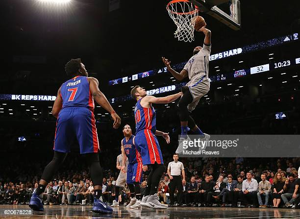 Trevor Booker of the Brooklyn Nets puts in a layup against the Detroit Pistons during the first half at Barclays Center on November 2 2016 in New...