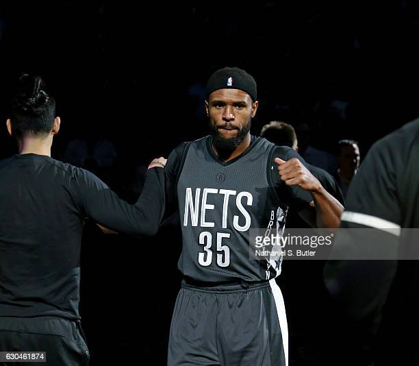 Trevor Booker of the Brooklyn Nets runs out before the game against the Golden State Warriors on December 22 2016 at Barclays Center in Brooklyn NY...