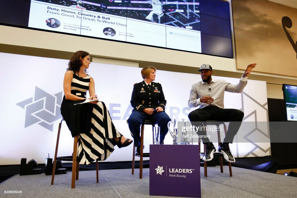Trevor Booker of the Brooklyn Nets speaks as part of a panel with Lt. Col Darcy Schnak and moderator Debra Harris at the Leaders Sport Performance Summit on August 29, 2017 in New York City.