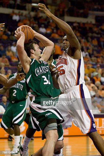 Trevor Booker of the Clemson Tigers defends on Charles Dewhurst of the Charlotte 49ers during the second half on January 9 2008 at Littlejohn...