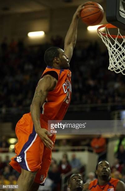 Trevor Booker of the Clemson Tigers dunks the ball in the second half against the Boston College Eagles on February 10 2009 at Conte Forum in...