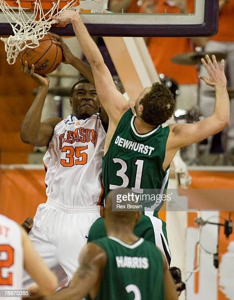 Trevor Booker of the Clemson Tigers has this shot blocked by Charles Dewhurst of the Charlotte 49ers during the first half on January 9 2008 at...