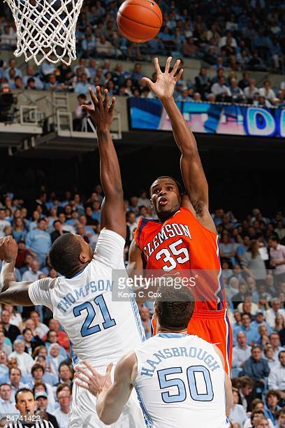 Trevor Booker of the Clemson Tigers puts a shot up against the North Carolina Tar Heels during the game on January 21 2009 at the Dean E Smith Center...