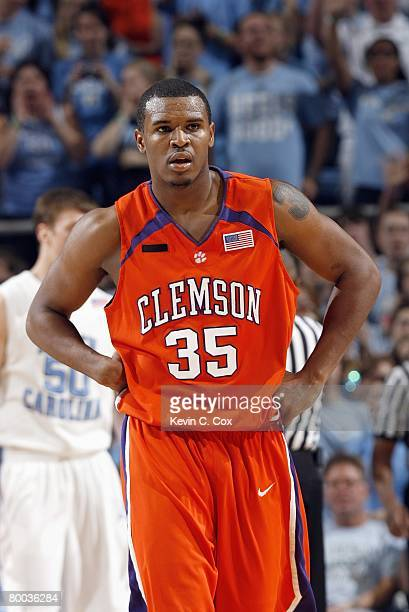 Trevor Booker of the Clemson Tigers walks on court against the North Carolina Tar Heels during the game at the Dean E Smith Center on February 10...