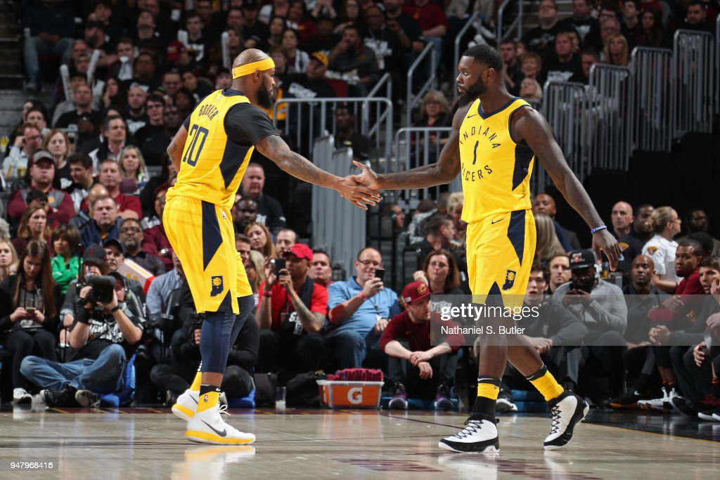 Trevor Booker #20 of the Indiana Pacers and Lance Stephenson #1 of the Indiana Pacers high five during the game against the Cleveland Cavaliers in Game One of Round One of the 2018 NBA Playoffs on April 15, 2018 at Quicken Loans Arena in Cleveland, Ohio.