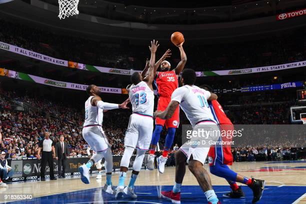 Trevor Booker of the Philadelphia 76ers shoots the ball against the Miami Heat at Wells Fargo Center on February 14 2018 in Philadelphia Pennsylvania...
