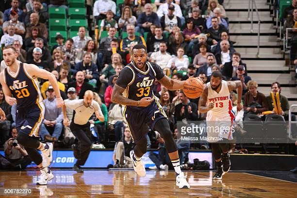 Trevor Booker of the Utah Jazz drives to the basket against the Detroit Pistons during the game on January 25 2016 at Vivint Smart Home Arena in Salt...