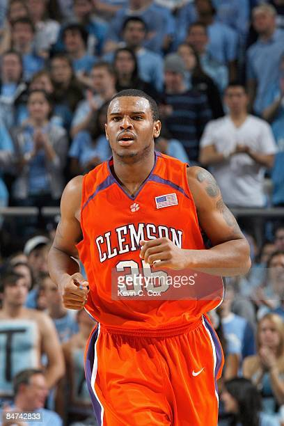 Trevor Booker the Clemson Tigers jogs down court against the North Carolina Tar Heels during the game on January 21 2009 at the Dean E Smith Center...