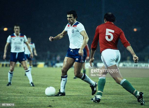 Trevor Brooking in action for England during the World Cup Qualifying match against Hungary at Wembley Stadium 18th November 1981 England won 10 to...