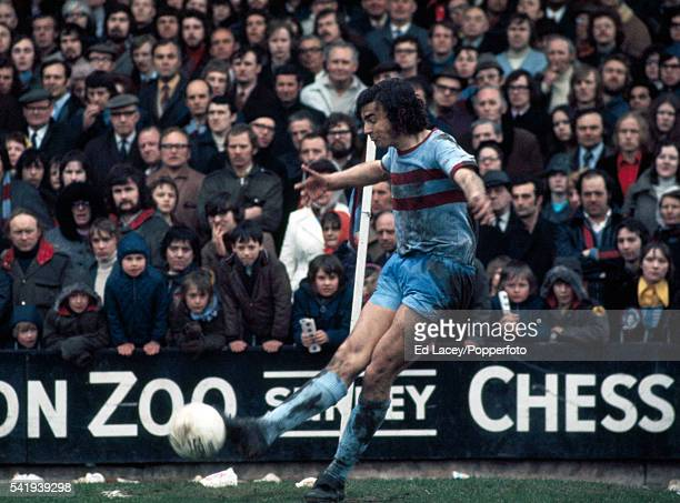 Trevor Brooking of West Ham United taking a corner kick during their match against Crystal Palace at Selhurst Park in London 24th February 1973