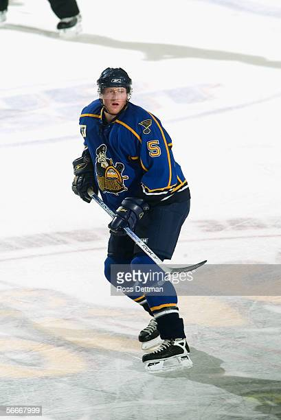 Trevor Byrne of the Peoria Rivermen skates against the Chicago Wolves at Allstate Arena on December 11 2005 in Rosemont Illinois The Wolves won 41