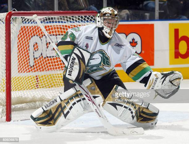 Trevor Cann of the London Knights gets set to make a save in a game against the Sault Greyhounds on December 4, 2008 at the John Labatt Centre in...