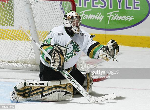 Trevor Cann of the London Knights makes a save in game 5 of the Western Conference Championship against the Windsor Spitfires on April 22 2009 at the...
