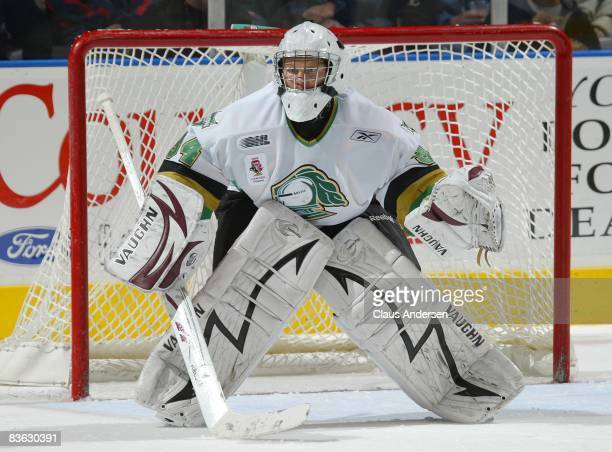 Trevor Cann of the London Knights waits for a shot in a game against the Owen Sound Attack on November 7, 2008 at the John Labatt Centre in London,...
