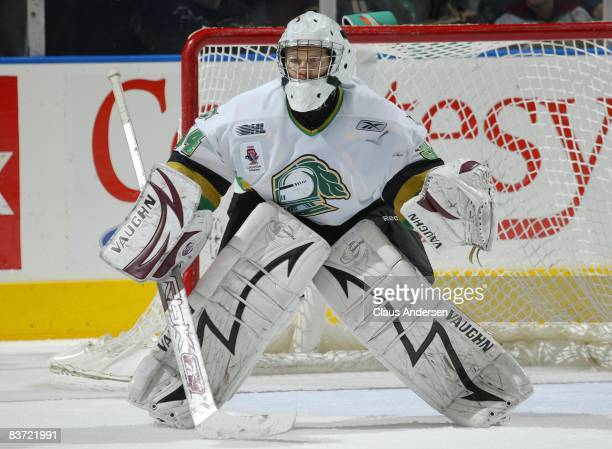 Trevor Cann of the London Knights waits for a shot in a game against the Barrie Colts on November 14, 2008 at the John Labatt Centre in London,...