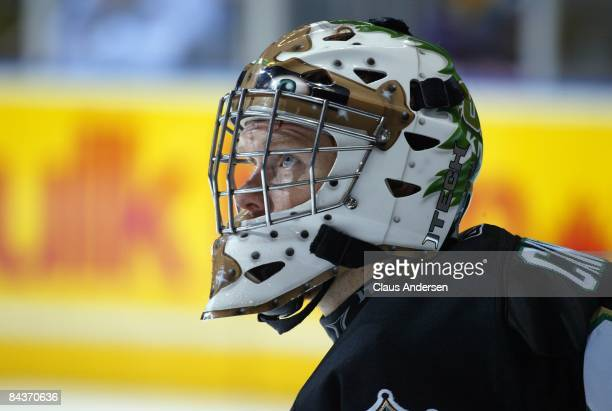 Trevor Cann of the London Knights waits prior to start of shootout in a game against the Guelph Storm on January 16 2009 at the John Labatt Centre in...
