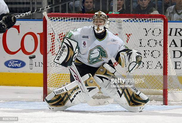 Trevor Cann of the London Knights watches an incoming shot in a game against the Sault Greyhounds on December 4, 2008 at the John Labatt Centre in...