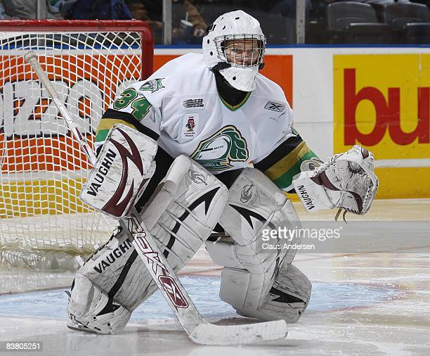 Trevor Cann of the London Knights watches for a shot in a game against the Peterborough Petes on November 21 2008 at the John Labatt Centre in London...