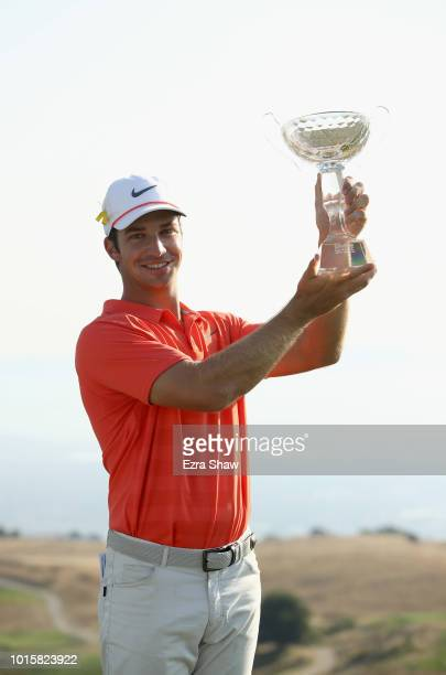 Trevor Cone holds up the trophy after he won the Ellie Mae Classic at TBC Stonebrae on August 12 2018 in Hayward California