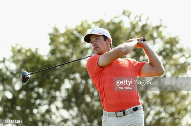 Trevor Cone tees off on the 18th hole during Final Round of the Ellie Mae Classic at TBC Stonebrae on August 12 2018 in Hayward California