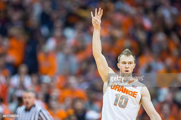 Trevor Cooney of the Syracuse Orange calls the defensive play during the first half against the Florida State Seminoles on January 11 2015 at The...