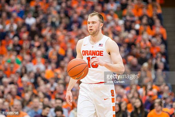 Trevor Cooney of the Syracuse Orange dribbles during the game against the North Carolina State Wolfpack on February 27 2016 at The Carrier Dome in...