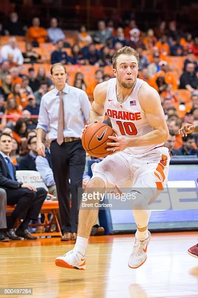 Trevor Cooney of the Syracuse Orange drives to the basket during the second half against the Colgate Raiders on December 8 2015 at The Carrier Dome...