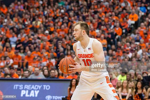 Trevor Cooney of the Syracuse Orange handles the ball during the game against the North Carolina State Wolfpack on February 27 2016 at The Carrier...