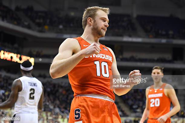 Trevor Cooney of the Syracuse Orange reacts to a play against the Pittsburgh Panthers during the second half at the Petersen Events Center on...