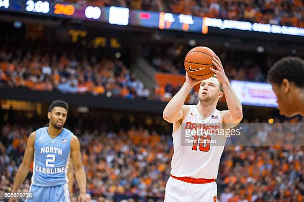 Trevor Cooney of the Syracuse Orange shoots a free throw during the second half against the North Carolina Tar Heels on January 9 2016 at The Carrier...