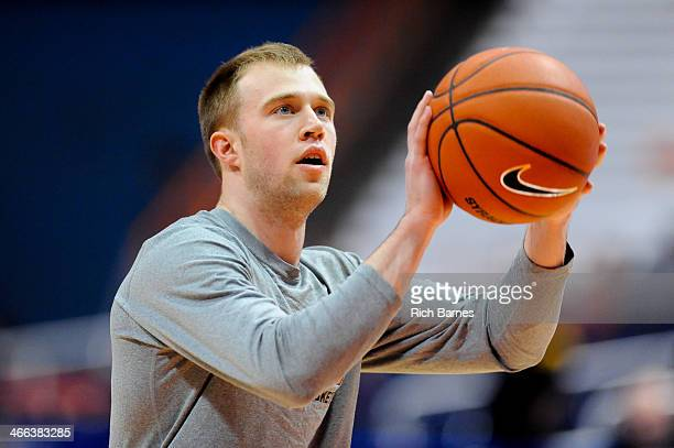 Trevor Cooney of the Syracuse Orange takes a shot prior to the game against the Duke Blue Devils at the Carrier Dome on February 1 2014 in Syracuse...
