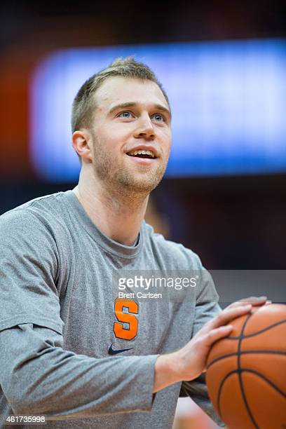Trevor Cooney of the Syracuse Orange warms up before the game against the Florida State Seminoles on January 11 2015 at The Carrier Dome in Syracuse...