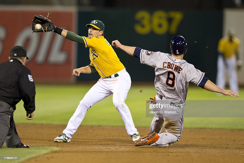 Trevor Crowe #8 of the Houston Astros steals second base ahead of the tag from Jed Lowrie #8 of the Oakland Athletics during the fifth inning at O.co Coliseum on September 5, 2013 in Oakland, California.