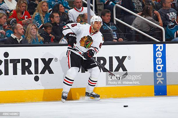 Trevor Daley of the Chicago Blackhawks passes the puck against the San Jose Sharks at SAP Center on November 25 2015 in San Jose California