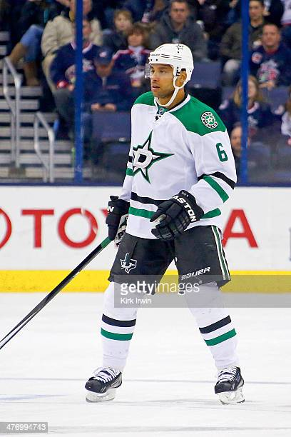 Trevor Daley of the Dallas Stars skates after the puck during the game against the Columbus Blue Jackets on March 4 2014 at Nationwide Arena in...