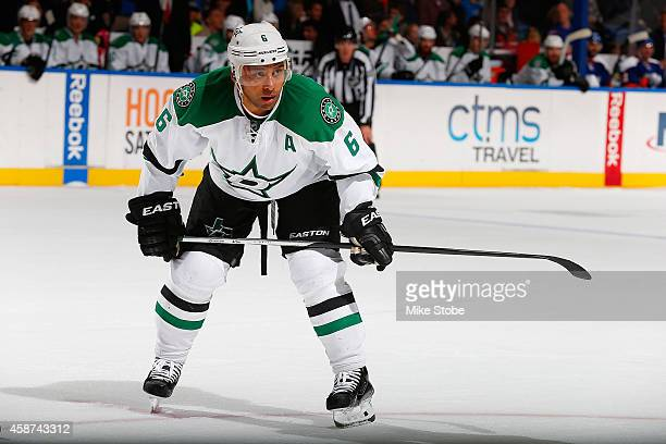 Trevor Daley of the Dallas Stars skates against the New York Islanders at Nassau Veterans Memorial Coliseum on October 25 2014 in Uniondale New York...