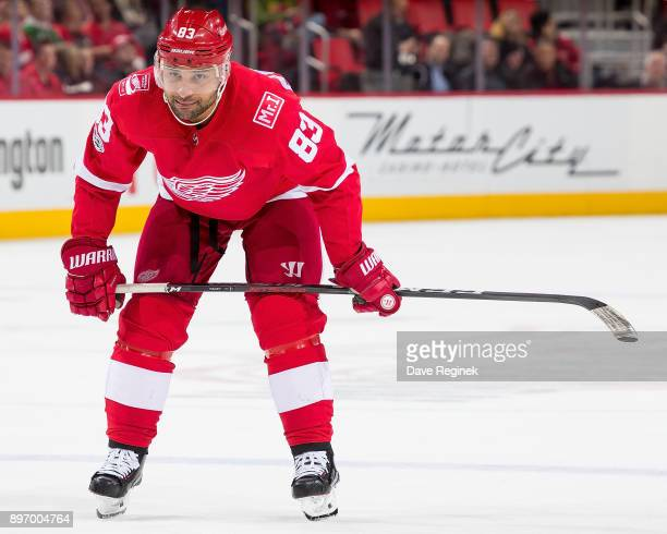 Trevor Daley of the Detroit Red Wings gets set for the faceoff against the Florida Panthers during an NHL game at Little Caesars Arena on December 11...