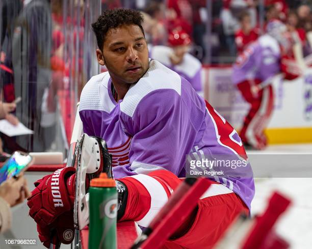 Trevor Daley of the Detroit Red Wings stretches in warm-ups with his custom Hockey Fights Cancer jersey prior to an NHL game against the Arizona...