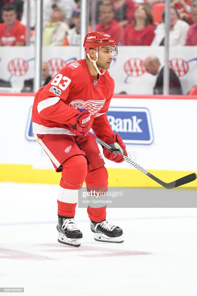 Trevor Daley #83 of the Detroit Red Wings watches for the puck at the blue line during the Detroit Red Wings game versus the Minnesota Wild on October 5, 2017, at Little Caesars Arena in Detroit, Michigan.
