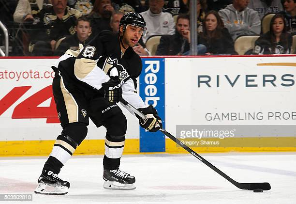 Trevor Daley of the Pittsburgh Penguins looks to pass against the Toronto Maple Leafs at Consol Energy Center on December 30 2015 in Pittsburgh...