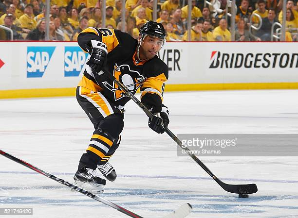 Trevor Daley of the Pittsburgh Penguins moves the puck against the New York Rangers in Game One of the Eastern Conference Quarterfinals during the...