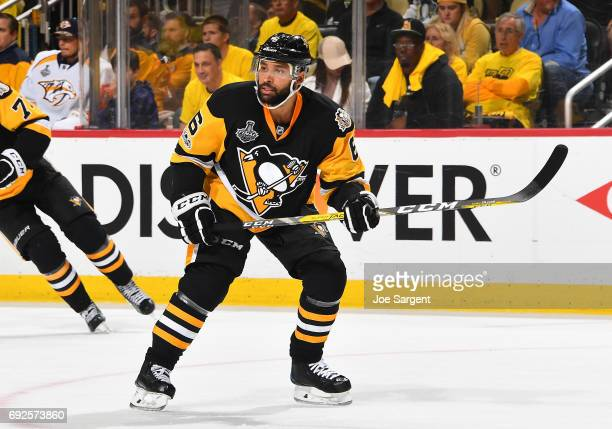 Trevor Daley of the Pittsburgh Penguins skates against the Nashville Predators in Game Two of the 2017 NHL Stanley Cup Final at PPG Paints Arena on...
