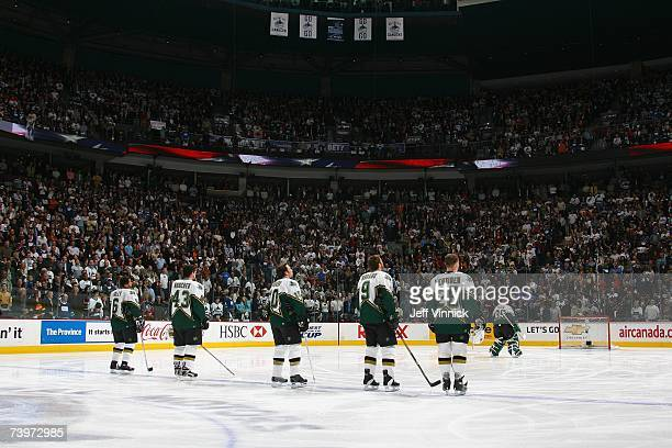 Trevor Daley Philippe Boucher Brenden Morrow Mike Modano Jere Lehtinen and Marty Turco of the Dallas Stars stand for the National Anthem before the...