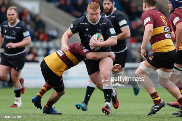 Trevor Davison of Newcastle Falcons charges on during the Greene King IPA Championship match between Newcastle Falcons and Ampthill amp District at...