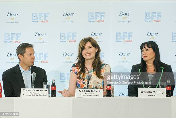 Trevor Drinkwater Geena Davis and Wanda Young attend the Opening day press conference at the Bentonville Film Festival on May 5 2015 in Bentonville...