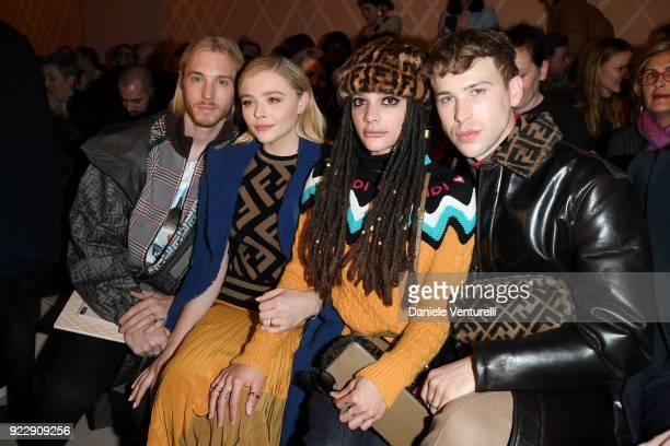 Trevor Duke Moretz Chloe Grace MoretzSasha Lane and Tommy Dorfman attend the Fendi show during Milan Fashion Week Fall/Winter 2018/19 on February 22...