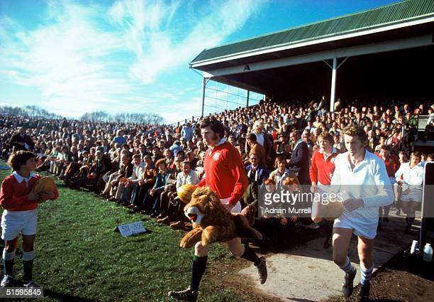 Trevor Evans leads out the British Lions team prior to the match between Marlborough Nelson Bays and the British Lions at Blenheim on July 5 1977 in...