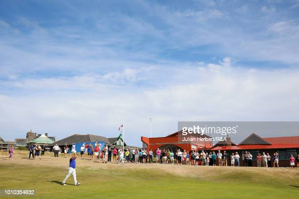Trevor Foster of Accrington & District Golf Club plays a shot on his way to winning The Seniors Amateur Championship at Royal Porthcawl Golf Club on...